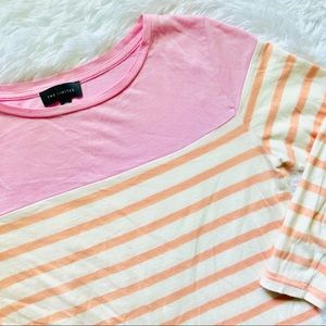 THE LIMITED • Pink + Peach Striped 3/4 Sleeve Top